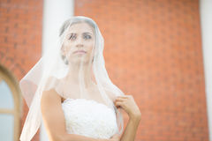Bride on a brick wall background. wedding Dress Stock Photo