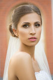 Bride on a brick wall background. wedding Dress Stock Photography
