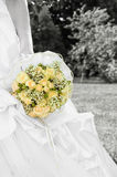 Bride with bridal bouquet. (black and white stock image