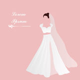 Bride. Bridal gown. White dress. Pink background. Add text. Bridal shower invitation. Beautiful white bridal dress with Pink background. Add text. Two-piece stock illustration