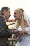 Bride and bridegroom stock images