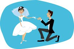 Bride and bridegroom. Young man making proposal to his bride Royalty Free Illustration