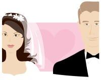 Bride and bridegroom. Heart in background vector illustration