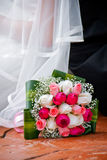 Bride, bridegroom and bouquet Royalty Free Stock Photo