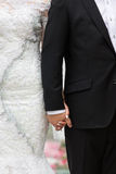 Bride and bridegroom hand in hand Stock Image