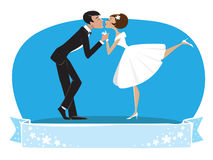 Bride and a bridegroom kissing stock illustration