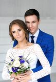 Bride and bridegroom on their wedding day.  Royalty Free Stock Photo
