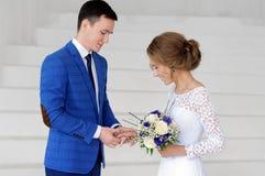 Bride and bridegroom on their wedding day.  Stock Photos