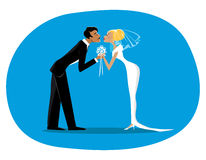 Bride and bridegroom. Vector illustration of a bride and a bridegroom kissing Stock Images