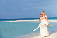 Bride With Bridesmaid At Beautiful Beach Wedding Stock Images