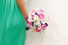 Bride and Bridesmaid with Bouquet Stock Photography
