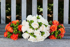Bride and bridesmaid bouquets stock photos