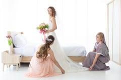 Bride and .bridesmaid royalty free stock image