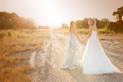 Bride and Bridesmaid on a Country Road. Attractive young bride and bridesmaid in formal attire looking over their shoulders at the camera.  They are walking on a Royalty Free Stock Photos