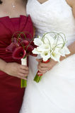 Bride and bridesmaid with flowers Stock Image