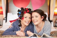 Bride And Bridesmaid Getting Ready For Wedding Royalty Free Stock Photography