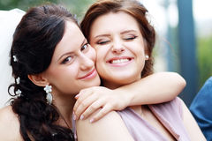 Bride and bridesmaid Royalty Free Stock Photos