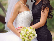 Bride and Bridesmaid in Park Royalty Free Stock Photo