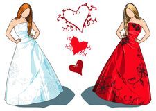 Bride and bridesmaid vector. Bride with long brown hair in white dress with floral embroidery and an option for same dress in red on blond hair bridesmaid model Stock Photo