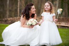 Bride With Bridesmaid On Wedding Day Royalty Free Stock Photography
