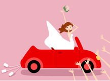 Bride and bridesmaids. Illustration of bride and bridesmaids Royalty Free Stock Images