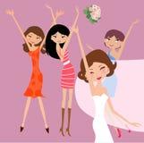Bride and bridesmaids. Illustration of cute bride and bridesmaids Royalty Free Stock Photo