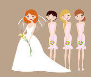 Bride and bridesmaids. Illustration of bride and bridesmaids Stock Images