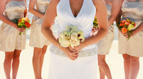 Bride and Bridesmaids. Bride and her bridesmaids with flowers stock photography