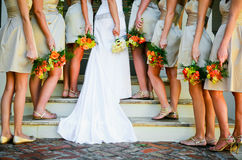 Bride and Bridesmaids. Bride and her bridesmaids with flowers royalty free stock photos