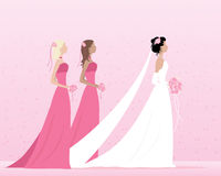 Bride and bridesmaids. An illustration of a beautiful bride dressed in white dress and veil walking with two bridesmaids in pink with small posies on a pink Royalty Free Stock Photos
