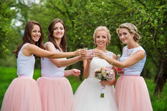 Bride with bridesmaids. Beautiful young bride with her bridesmaids outside in nature stock images