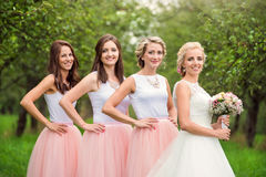Bride with bridesmaids Stock Images