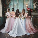 Bride and bridesmaids. Beautiful young women in dresses. And with bouquets of fresh flowers. Back view royalty free stock photo