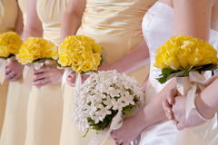 Bride and Bridesmaids with Bouquets Royalty Free Stock Photography