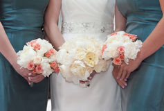 Bride and Bridesmaids with Bouquets Royalty Free Stock Photo