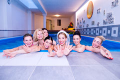 Bride and bridesmaids celebrating hen party in wellness center Stock Photography