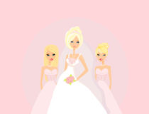 Bride with bridesmaids Stock Photography
