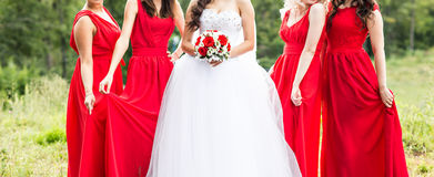 Bride with bridesmaids outdoors on the wedding day Stock Images