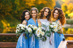 Bride with bridesmaids. In the park on the wedding day royalty free stock images