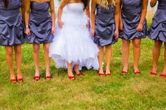 Bride and Bridesmaids with Red Shoes. Bride and bridesmaids holding their dresses up a bit to show off their red shoes while standing on green grass Royalty Free Stock Photography