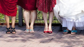 Bride and bridesmaids' shoes Royalty Free Stock Image