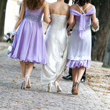 Bride and bridesmaids with wedding bouquet Stock Photos