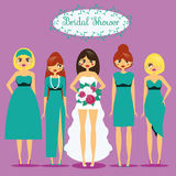 Bride with Bridesmaids. Woman in fashionable dresses. Bridal shower, hen party vector illustration Royalty Free Stock Image