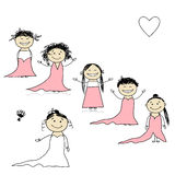 Bride with bridesmaids for your design vector illustration