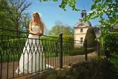 Bride on Bridge Royalty Free Stock Photography