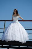 Bride on a bridge Royalty Free Stock Photo