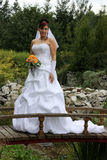 Bride on the bridge. Bride staying on the bridge royalty free stock photos