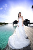 Bride On The Bridge of Beach Stock Photos