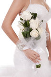 Bride with bunch of white roses Royalty Free Stock Photo