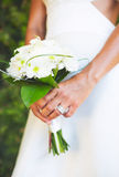 Bride and Buquet on Wedding Day Stock Photo